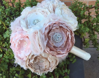 Fabric wedding bouquet, Blush fabric bouquet, vintage fabric bouquet, brooch fabric flower bouquet