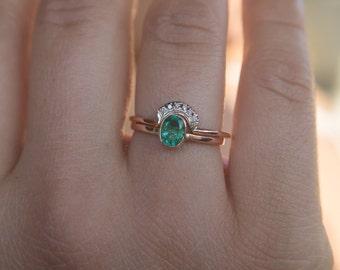 Emerald Engagement Ring Diamond Emerald Ring Gold Emerald Ring Diamond Stacking Ring Wedding Ring Set Diamond Rose Gold Engagement R