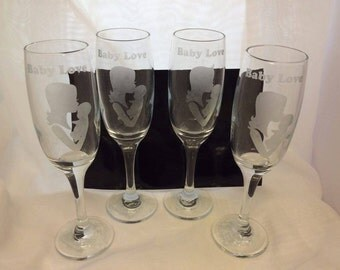 Set of 4 Champagne Flute Etched with Baby Love and Mother and Baby