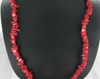 """ON SALE Genuine Coral Nugget 34"""" Beaded Necklace Red Bohemian BOHO"""