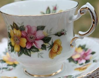 Paragon Fine Bone China Teacup and Saucer Wild Roses.