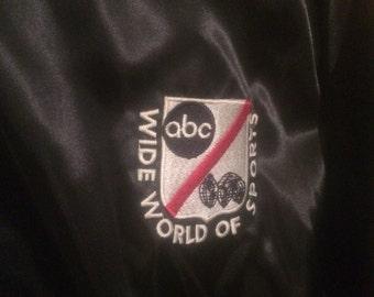 Vintage Shiny Black Satin ABC Wide World Of Sports Jacket