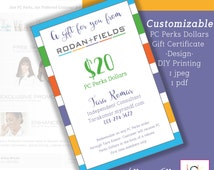 """Rodan and Fields Perks Dollars Gift Certificates - Promotion - Network Marketing materials - Size 4"""" X 6"""" - Customizable - Stripes"""