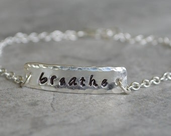 Breathe Bracelet Sterling Silver Eco Friendly Reclaimed Silver Gift Encouragement Jewelry Support Friendship