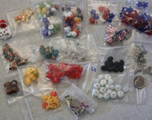 Holiday Bead and Charm Lot Bead Destash Christmas July 4th Easter St Patrick Winter Mittens Nutcrackers Angels Crosses Stars