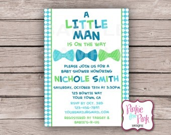 Personalized Baby Boy Shower Invitation- Little Man, Bow tie- Digital File Download