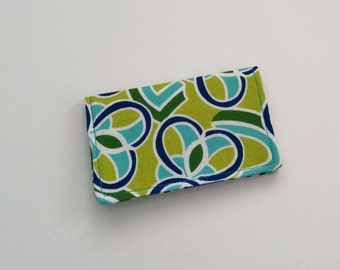 Business Card Holder, Blue and Green Card Holder, Business Card Case, Credit Card Holder, ID Holder, Gift Card Holder