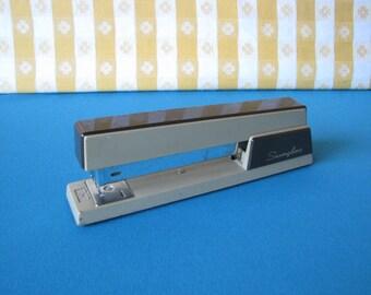 Swingline Stapler - Model 767 - Two Tone Brown - Industrial Office -  Retro Desk - Vintage 1970's
