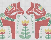 Dala Horse & Tulips Swedish Heritage Cross Stitch Pattern PDF