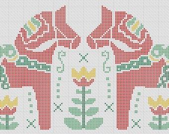 Dala Horse & Tulips Swedish Heritage Cross Stitch Pattern PDF