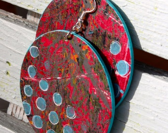 Abstract, Mixed media, Red, Teal, Hand Painted, Wooden, Painted, Drop, Dangle, Earrings