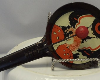Vintage Halloween 1930s Noisemaker Witch Tin Pan Clanger by Cohn