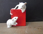 Cake Topper Vintage Two Mice on A Book Wedding Cake Topper