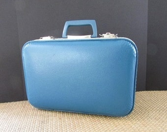 Small Blue Suitcase Vintage Luggage