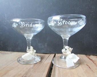 Bride and Groom Vintage Champagne Glasses Toasting Cups Treasure Masters