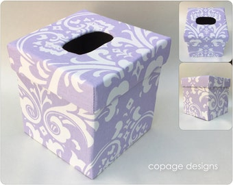 Lilac Damask TISSUE BOX COVER - Kleenex Box Cover - Baby Nursery Decor - Custom Tissue Box Cover - Made-to-Order