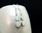 Double White Opal Silver Drop Earrings