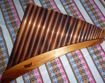 Professional Lupaca  Panflute 24  pipes Burnt Bamboo from Peru - Right Handed Item in USA