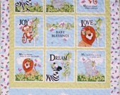 Nursery, Quilt, Baby, child, Cotton/Poly, 33 x 49 inches, Cute Animals, Backing has same animals.