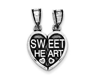 Sterling Silver Antiqued Sweet Heart Break Apart Pendant