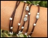 Silver Tibetan Boho LEATHER Wrap Bracelet - Beaded Leather Ropes Triple Wrap w/ Extension Chain - Pick COLOR / SIZE - Usa - 785