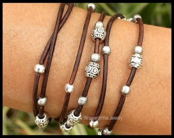 Silver Tibetan Boho LEATHER Wrap Bracelet - Beaded Leather Ropes Triple Wrap w/ Extension Chain - Pick COLOR / SIZE - Usa - 785