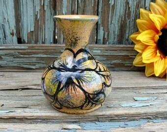 BUD Vase Wassi Art Jamaican Hand Painted Pansy MINI VASE