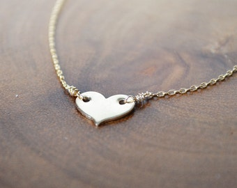 "small heart necklace ///  custom initial necklace - short layering gold necklace /// ""i carry your heart with me"""