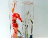 Seahorse Shrimp Undersea Glass Vase, original glass painting