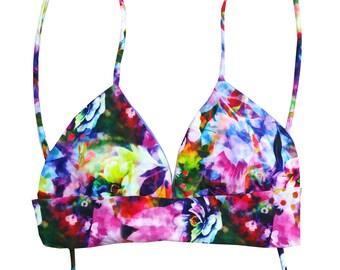 Peony Halter Bikini Top with Corset Tie Back