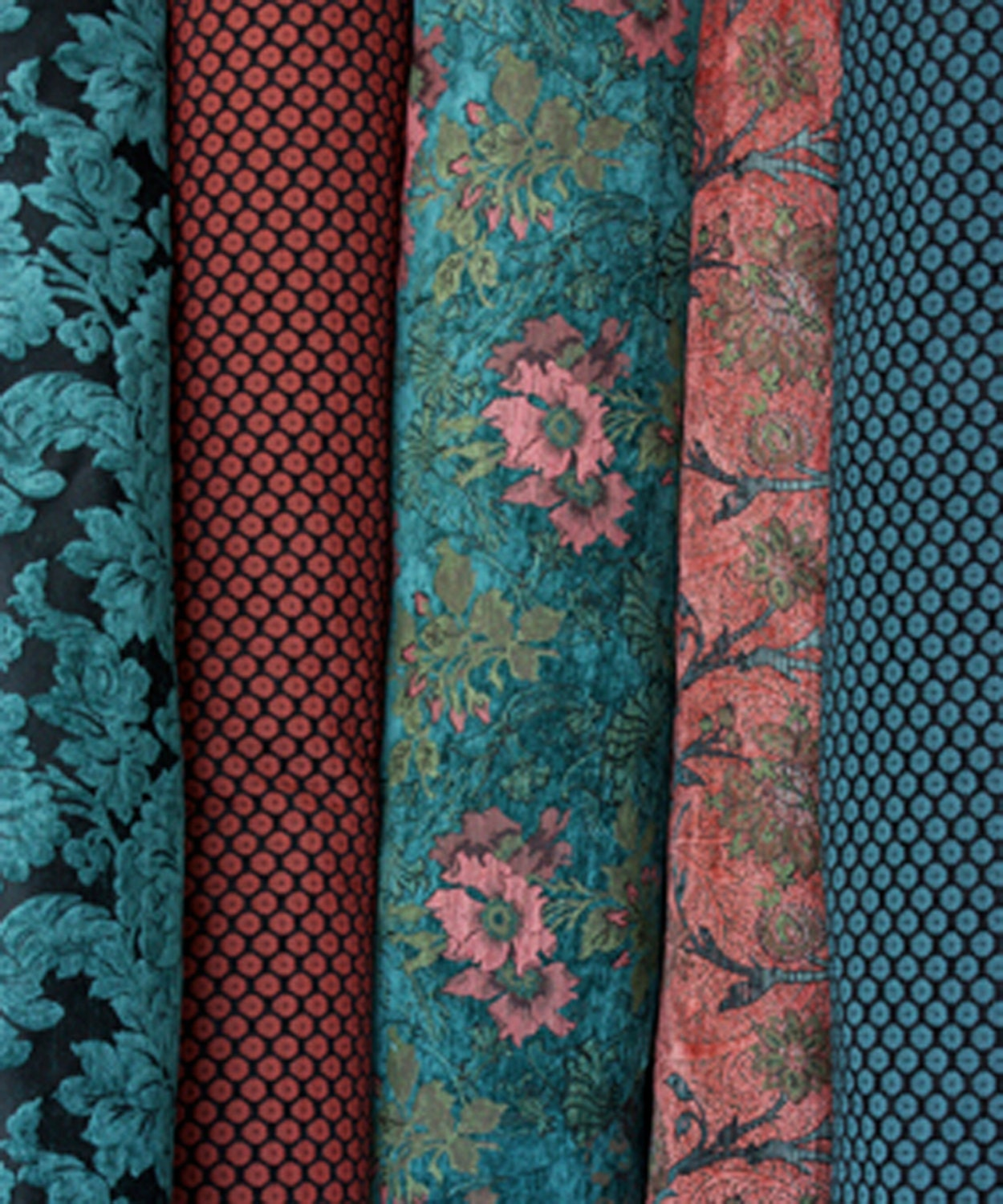 Coral Boston Vine Woven Floral Upholstery Fabric From