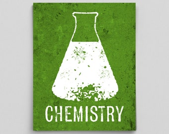 Erlenmeyer Flask Chemistry Beaker Print Science Teacher Gifts for Teachers Science Art Typographic Print Lab Poster Gifts for Him Decor Gift