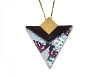 Geometric  Triangle Wooden Necklace- Blue & Purple Patterned