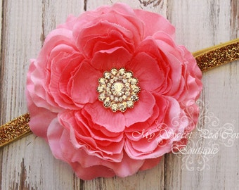 Pink Peony Headband- Baby Headbands- Baby Headband- Infant Headband- Toddler Headbands- Girls Headbands