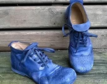 Leather derby brogue shoes IN TWILIGHT