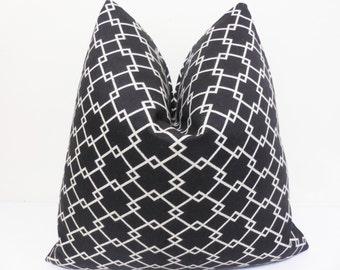 Black White Sunbrella Pillow - Pavillion Outdoor /Indoor Pillow Cover - Sunbrella outdoor Pillow- Sunbrella cushion- 20 x 20