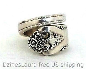 Spoon Ring Lovely Lady 1937 Size 6 7 8 9 10 11 12 13 Antique Silver Flatware Handle Vintage Jewelry Spiral Wrapped Silverware Repurposed