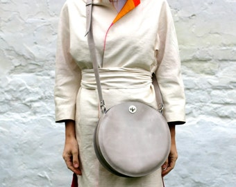 Gray leather bag, cross body round bag, leather crossbody bag, circle bag, FREE SHIPPING