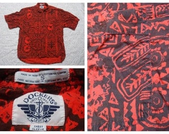 Vintage Retro Men's 90's Levis Dockers Hawaiian Tribal Tropical Print Red Buttonup Short Sleeve Shirt Small Large