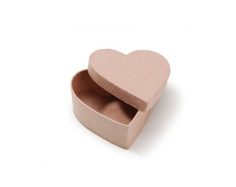 Paper Mache Heart Shaped Cardboard Box - 3.5 x 3.5 x 1.5 Inch with Lid depth of .5 Inch  - Valentine's Day Craft Supplies