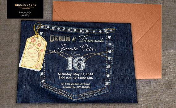 Denim and Diamonds Denim Pocket with Bling Custom by SwankyBash