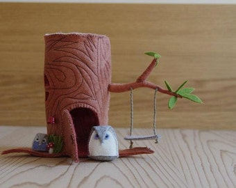 Felt Tree House & Felt Owl Sewing Pattern PDF