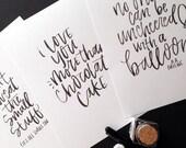 Custom Hand Lettering Print // Modern Calligraphy // Brush Lettering // Custom Quote Lyric Bible Verse Print // Custom Gift