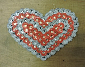 Red and White Bottle Cap Heart
