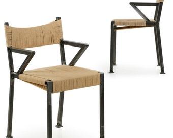 Pair of Handmade Industrial Style Welded Steel Arm Chairs c. 2016, 15M2TDNP