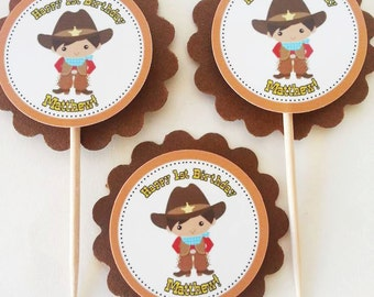 Personalized Little Cowboy Birthday Baby Shower Cupcake Topper
