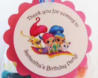 Personalized Shimmer and Shine Favor Bag Tags