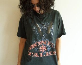 Vintage Trashed Distressed Rare Bootleg ACDC Money Talks T Shirt