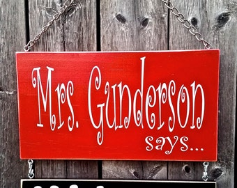 Teacher Classroom Office Decor Sign - School or Favorite Colors - Includes One Top Sign and One Small Hanging Sign Choose Add'l Signs