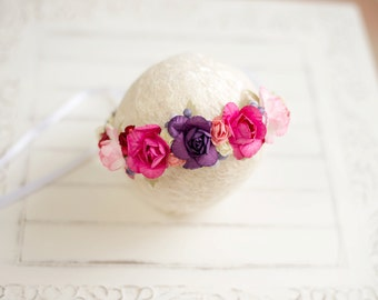 floral Crown | Newborn halo | Newborn Photo Prop | photography must have | Flower halo | purple | pink |